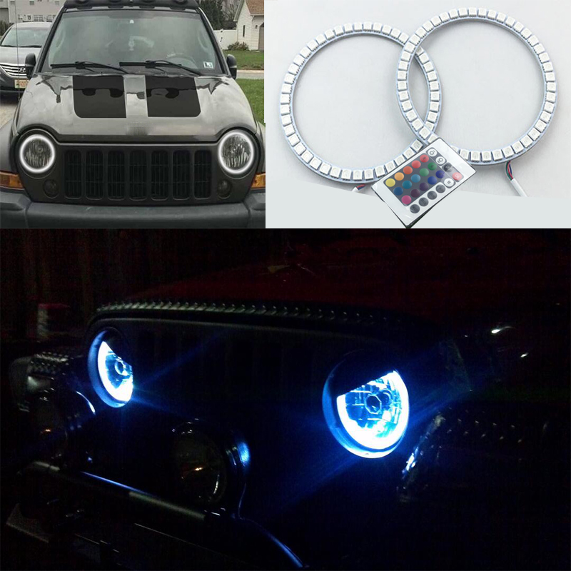 2pcs Super bright 7 color RGB LED Angel Eyes Kit with a remote control car styling for Jeep Liberty KJ 2000 2001 - 2007<br>