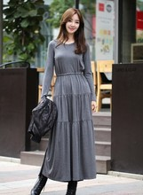 2016 New arrival long dresses women casual summer holiday beach fashion spring grey dress lady slim Girls clothing size M #E437
