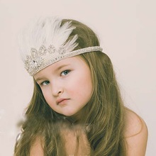 10pcs Girls enaissance Annie Shaye Collection Feather Crown Headband Flower Bohemian embroider Sequins diamante Hair band YM6120