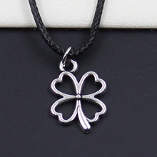 99Cents New Durable Black Faux Leather lucky irish four leaf clover Pendant Cord Choker DIY Necklace Retro Boho Tibetan Silver