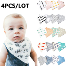 4pcs/lot Baby Bibs For Boy And Girl Burp Cloths Bandana Bibs Baby Bandana Infant Waterproof Dribble Bibs Bandanas Drop Shipping