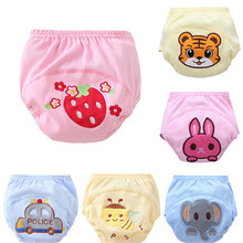 1Pcs Baby Training Pants Cotton Reusable Baby Diapers Cartoon Cloth Nappies Washable Diapers Bamboo Learning Pants 90cm(China)