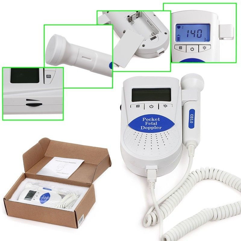 10 pcs Pocket Fetal doppler SONOLINE B 3M backlight LCD baby monitor+ Free Gel <br>