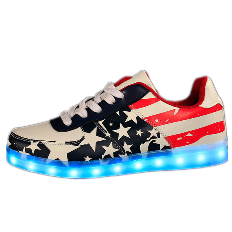 2017 High Quality PU Led Shoes Glowing Men DeepBlue Casual Shoes For Unisex Sport Luminous Led Light Up Shoes<br><br>Aliexpress