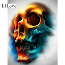 Li Loye Needlework Diamond Embroidery 5D DIY Diamond Painting Cross Stitch Skull head Crystal Full Mosaic Set Decorative FZ811(China)