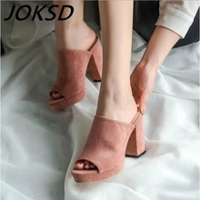 2017 sandalas women Nubuck Leather sandals thick heel slippers woman platform wedges summer shoes pumps woman flip flops M723