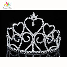"Peacock Star Tall Bridesmaid Bridal Wedding Beauty Contest Pageant  Tiara Heart Sparkling Crystal 4"" (10 cm)  CT1699"