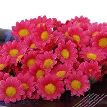 Boutique  100pcs Artificial Daisy Flowers Heads for Wedding Party (Rose Red)
