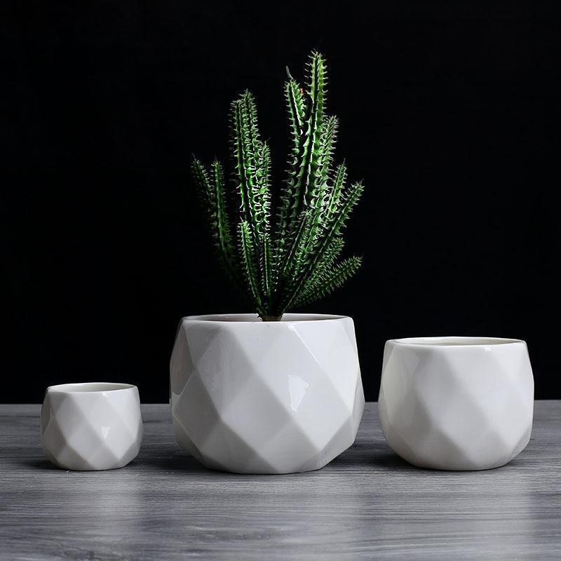 Creative Ceramic Diamond Geometric Flowerpot Simple Succulent Plant Container Green Planters Small Bonsai Pots Home Decoration2