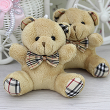 Wholesale H-9cm Brown Plaid bow teddy Bear,plush toy for cartoon bouquet doll,Promotion Gifts 24pcs/lot(China)