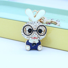 ISINYEE Fashion Crystal Bunny Rabbit Keychain For Women Cars Bags Rhinestone Cute Keyrings Key Chains Holder Jewelry Accessories(China)