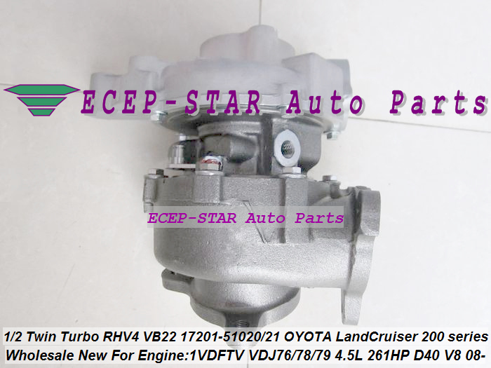 1pc Twin Turbo RHV4 VB22 17201-51020 17201-51021 Turbo For TOYOTA Land Cruiser 200 series D-40 V8 1VD-FTV VDJ76 VDJ78 VDJ79 4.5L (1)