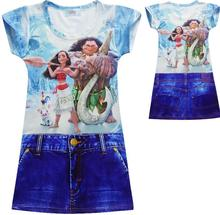Hot Sell Girl baby Children goods Short sleeves cartoon beautiful Double-sided printing cowboy dress sheer Party Princess Dress