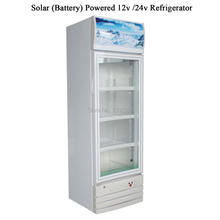 208L Solar Battery Powered DC 12v /24v Refrigerator Solar Showcase Glass Door Showcase