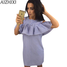 Buy AIZHIXI 2017 Women Fashion Ruffles Blue Striped Summer Dress Casual O-Neck Shoulder Butterfly Sleeve Party Short Dresses for $8.49 in AliExpress store