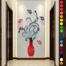 Home Wall Stickers DIY 3D Vase Flower Tree Crystal Arcylic Wall Stickers Decal Home Room Indoor Decor Wall Stickers