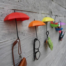 Newest 3 Pcs Colorful Umbrella Wall Hook Key Glasses Wallet Hair Pin Holder Organizer Decorative Wall Decor Home Decoration