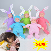 Cute 25CM Simulated Babies Sleeping Dolls Rabbit Plush Stuffed Baby Doll Children Toys Birthday Gift For Babies doll reborn
