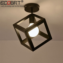ECOBRT Nordic style black ceiling lights with E27 Socket fashionable iron restaurant balcony study ceiling lighting fixtures(China)