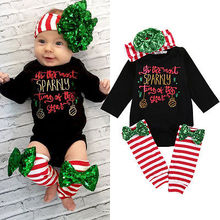 3Pcs Christmas Newborn Baby Boys Girls Sequin Letter Long Sleeve Black Romper+Striped Leg Warmer+Bownot Headband Clothes Set