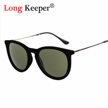 LongKeeper Brand Design Sunglasses for Women Cat Eye Sun Glasses Oval Velvet Sunglasses Winter Style Oculos De Sol Alloy Leg