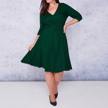 Plus size 6XL 5XL Work Spring Style Women Bodycon Dresses Sexy 2018 New Arrival Casual Green Deep V Neck Half Sleeve Midi Dress(China)