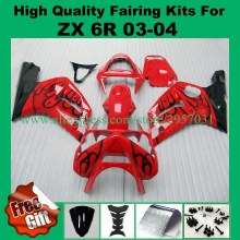 Free screws+gifts Injection mold Fairing kit KAWASAKI Ninja ZX6R 636 03 04 ZX 6R 2003 2004 Red Flames Fairings set - CJ Store store