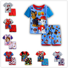 2017 new 100% Cotton Baby Boys Girls Clothing Set Children short Shirt + Pants Set Kids Cartoon Clothes Casual Suits