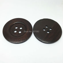 40pcs Wood Buttons 50mm 4 Holes Dark Brown Sewing Botones Embellishments For Sweater Overcoat Clothing Bags Decorations