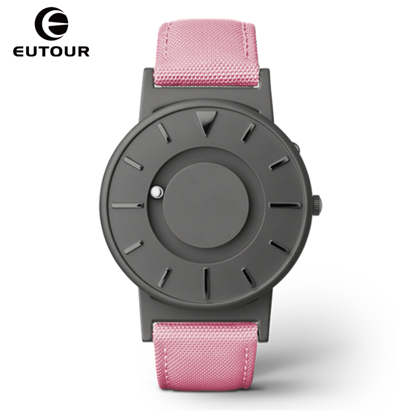 EUTOUR Women Watches Magnetic Ball Pointer Creative Ladies Watch Simple Fashion Pink Canvas Strap Wristwatches For Blind Person (11)
