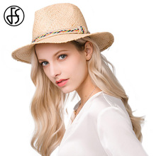 FS 2017 Summer Straw Sun Hat Jazz Cap For Women Men Wide Flat Brim Boater Beach Sunhat Fedora Panama Hat Unisex Fashion(China)