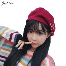 Female Solid Hat Red Pink Gray Red Black Hat Winter Berets Woman Warm Felt Wool Elegant Lady Vintage Church Hats candy color(China)
