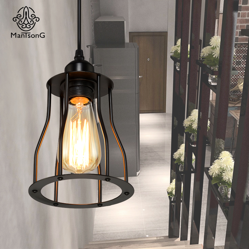 Black Loft Iron Pendant Lamp 1 Head  Industrial E27 Holder Metal Light Dining Room Cafe Bar Restaurant Modern Indoor<br>