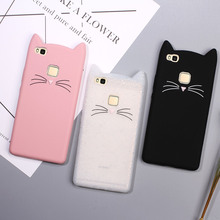 For Huawei p9 Lite Cover Lovely 3D Moustache Cat Soft Silicone Back Case for Huawei P9Lite G9 Lite Kitty Mobile Phone Funda