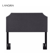 LANGRIA Full/Queen 3 Height Adjustable Modern Bed Headboard Nailhead Linen Upholstered Headboard with Notched Corners Iron Grey(China)