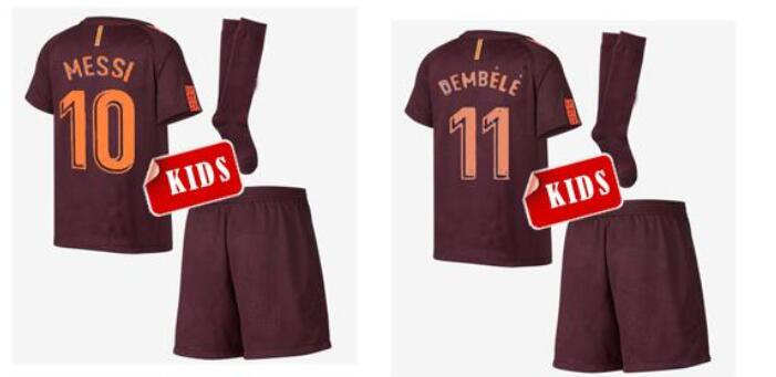 barcelona 3 pique home youth kids child short sleeves 2016 2017 club soccer jerseys