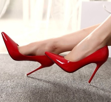 10cm female nude pointed high heels shoes pumps sexy lady patent leather shoes fashion casual women office wedding sandals<br><br>Aliexpress