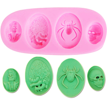 M681 Halloween Spider Skull Brain Silicone Mold Chocolate Cake Candy Melting Soap Decoration Cake Cooking Tool
