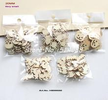 "(5 Styles,150pcs/set) 20mm Blank Wood Halloween Party Owl Skull Bat Pumpkin Cat Spider 0.8""-H8099560"