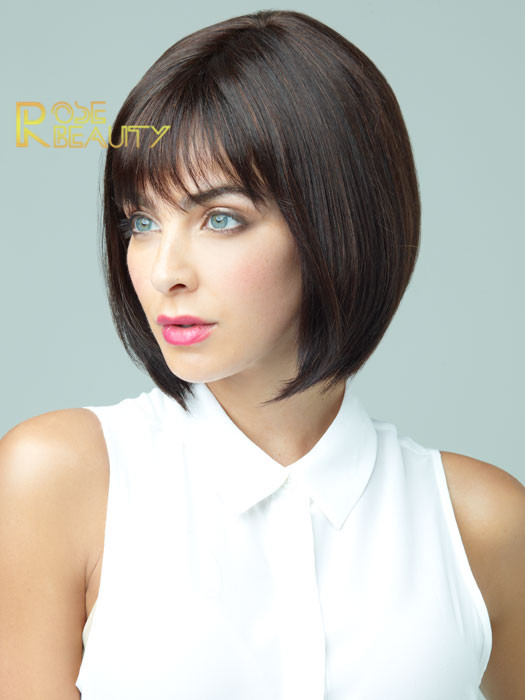 2017 Sexy Bob synthetic hair wigs Peluces Peruca short straight brown wig for women full wig with side bangs free shipping<br><br>Aliexpress