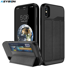 KEYSION Phone Case for iPhone X Luxury PU leather and PC and TPU Kickstand Anti-knock Back cover for iPhone 10 With Card Pocket(China)