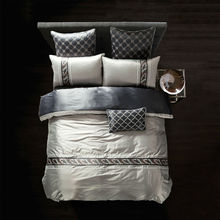 Silk Bamboo Fiber Duvet Cover Set silver light gray Bed Linens Queen King size Bedding Sets Embroidered(China)