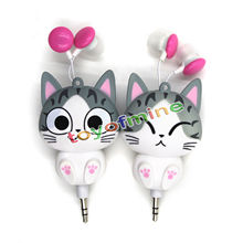 Cute Kawaii Cheese Cat bear Cartoon Retractable MP3 MP4 Earphone for Samsung for HTC for Xiaomi for IPhone 5 5s 6 6s plus