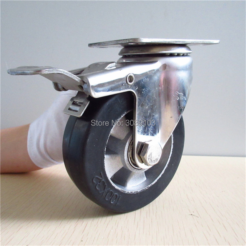 hot 4 inch stainless steel casters  Double Ball Bearing Aluminum Core Elastic Rubber medium Duty Caster Wheel with brake<br>