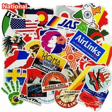 50 Pcs National Flags & Map Airline Logo Travel Luggage Stickers For Skateboard Laptop Toy DIY Sticker Car Bike Waterproof Decal