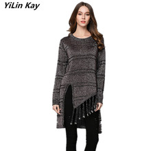 YiLin Kay 2017 high quality female infant pullover Runway Spring winter Women's long sleeve Asymmetric knitting sweater(China)