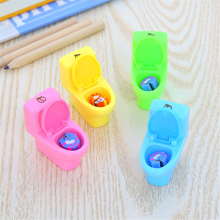 12pcs/lot Creative Toilet Pencil Sharpener Funny Purpose Pencil Sharpener for School Supplies Kids Gift(China)