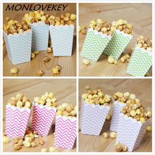 High Quality 12pcs Stripe Stiff Paper Party Popcorn Boxes Pop Corn Candy/Sanck Favor Bags Wedding Birthday Movie Party Tableware