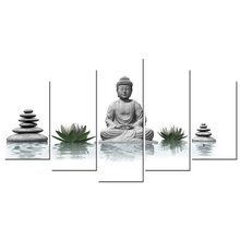 5 Piece Canvas Wall Art Buddha With Stone Zen White Lotus Wall Pictures Home Decor For Living Room HD Printed Artwork 40x22inch