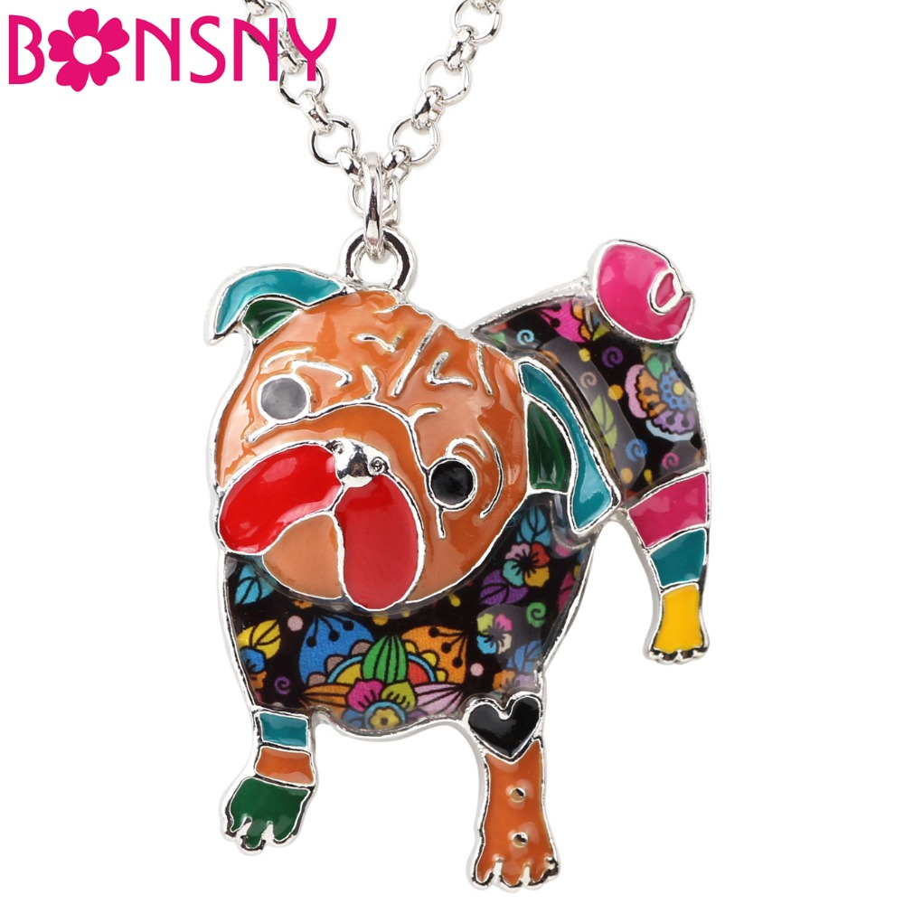 Bonsny Statement Maxi Metal Enamel Pug Dog Choker Necklace Bulldog Pendant Chain Collar 2017 New Jewelry Women Pet Bijoux